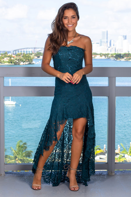 Teal Lace Strapless High Low Dress