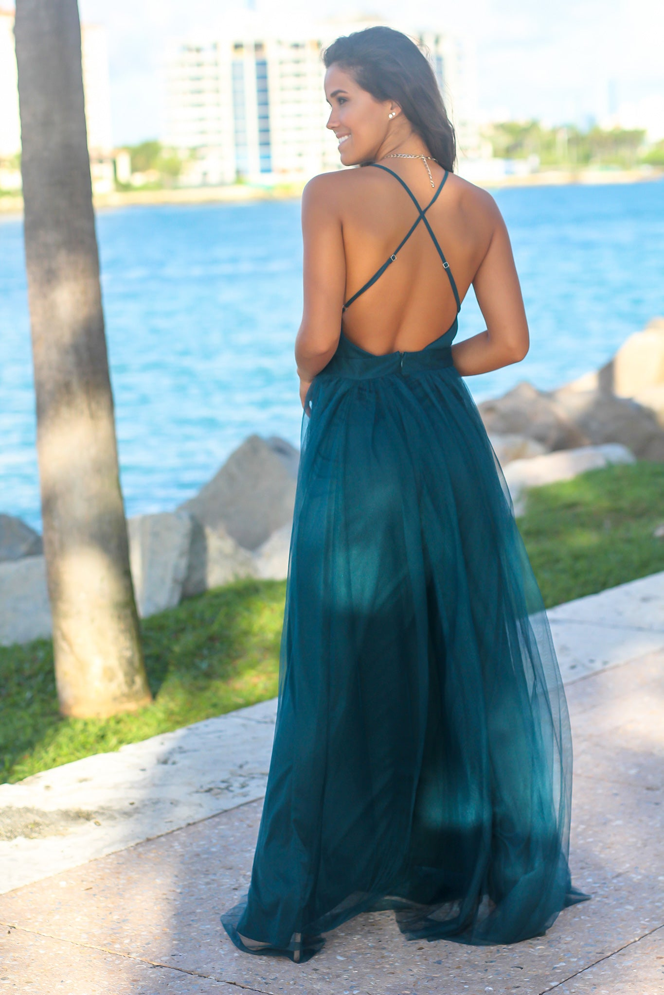 Teal Tulle Maxi Dress with Criss Cross Back