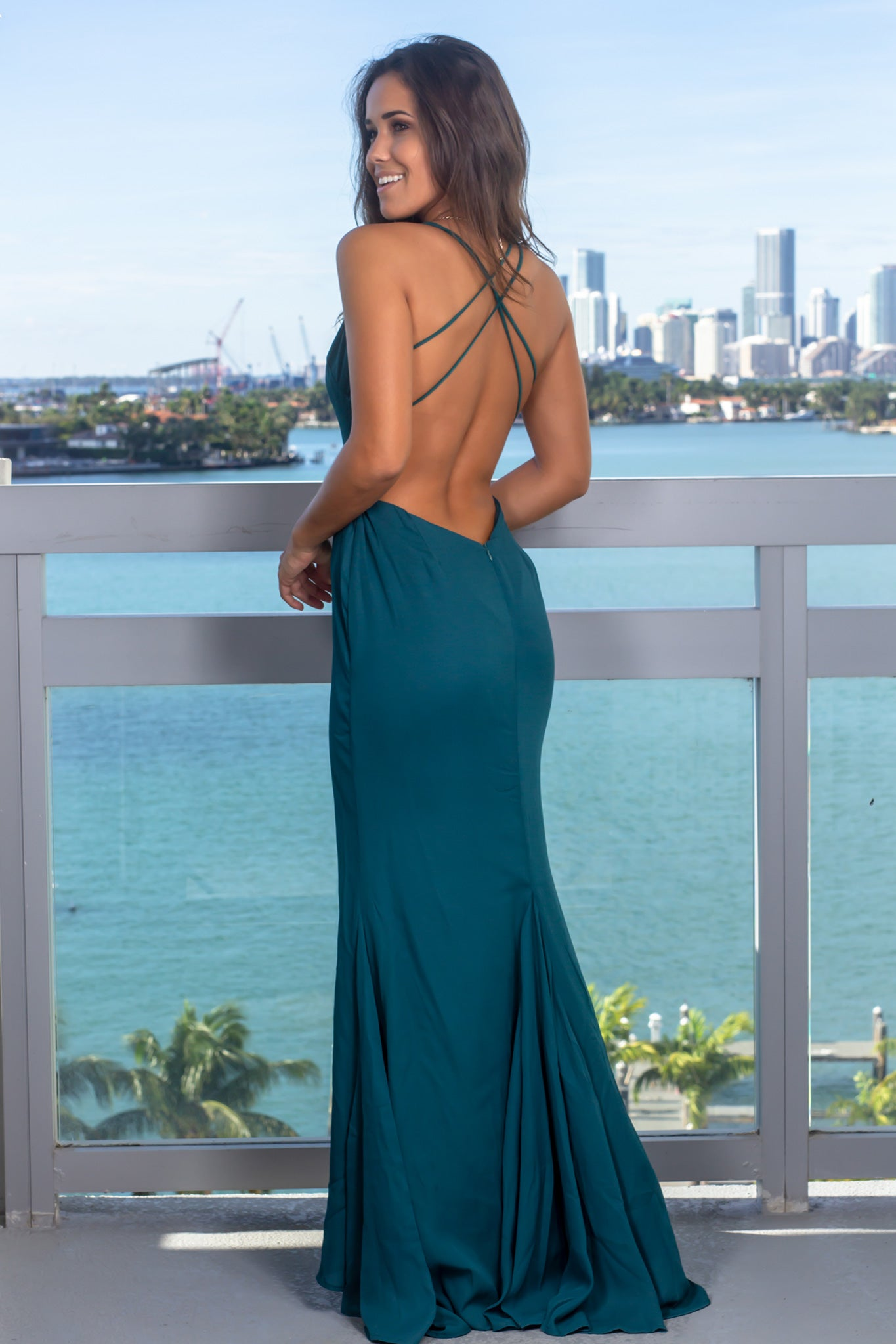 Teal V-Neck Maxi Dress with Front Slit
