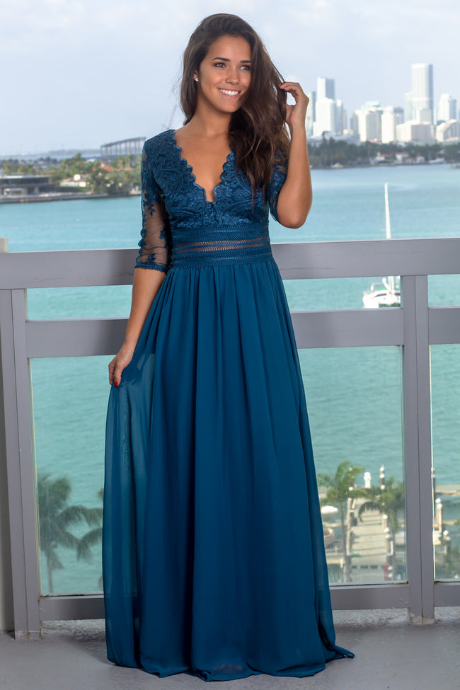 Teal V-Neck Maxi Dress with Mesh Embroidered Sleeves