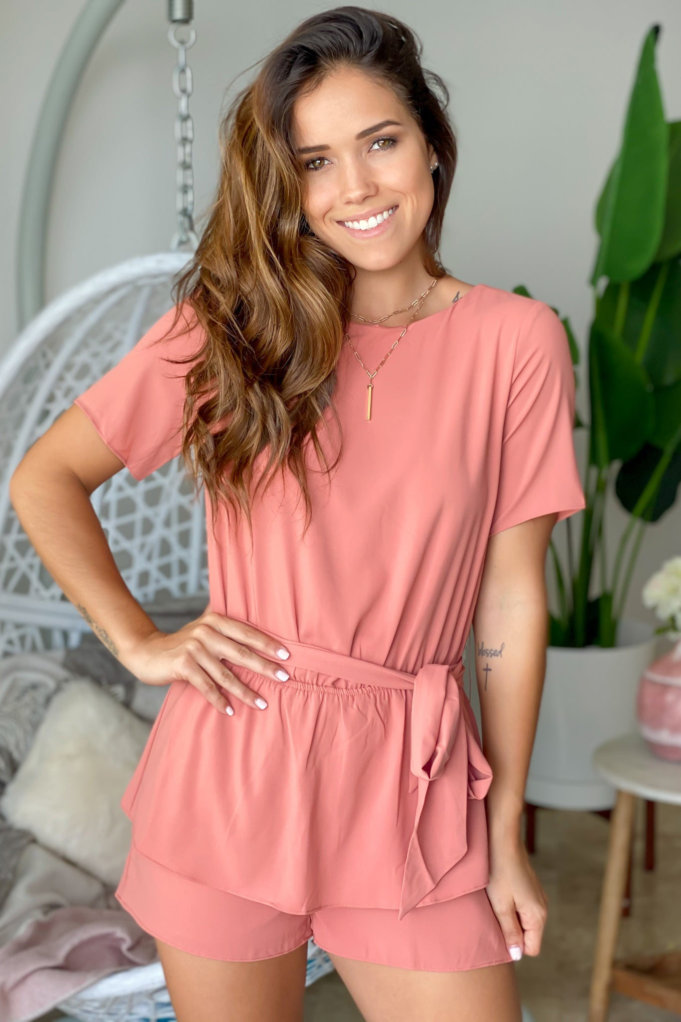 Terra Cotta Romper with Sleeves