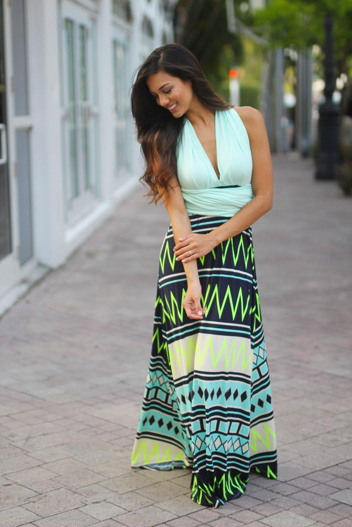Mint Tie Back Maxi Dress