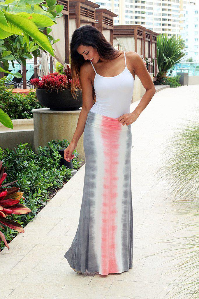 Gray And Pink Tie Dye Maxi Skirt