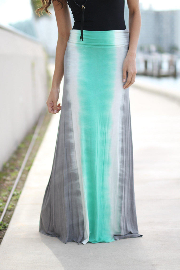 mint and gray tie dye maxi skirt
