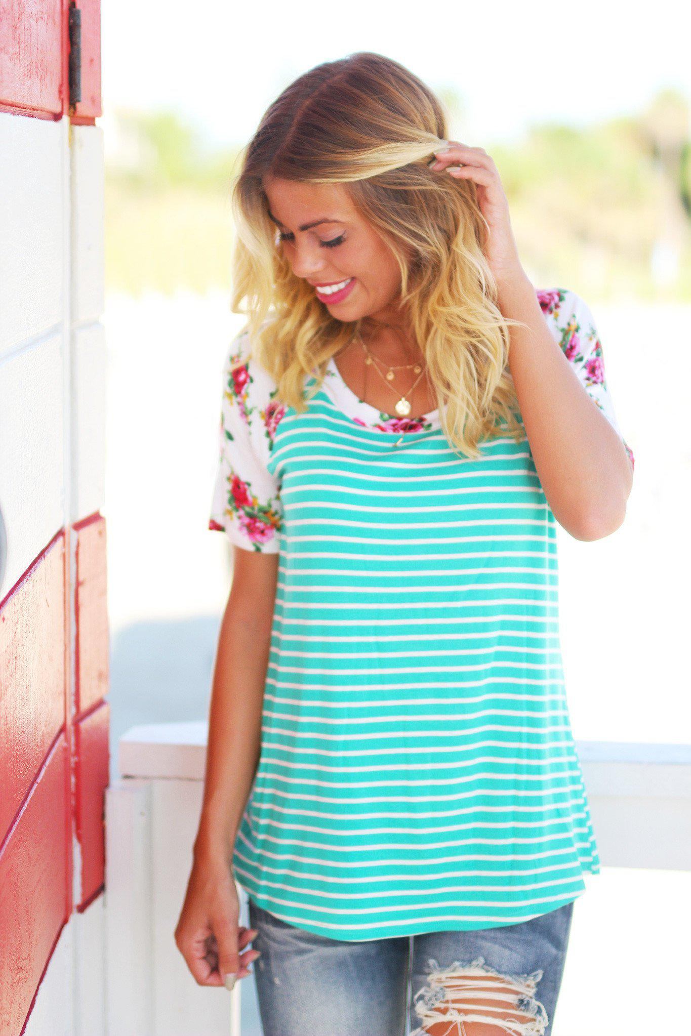 Mint Striped Top with Floral Sleeves