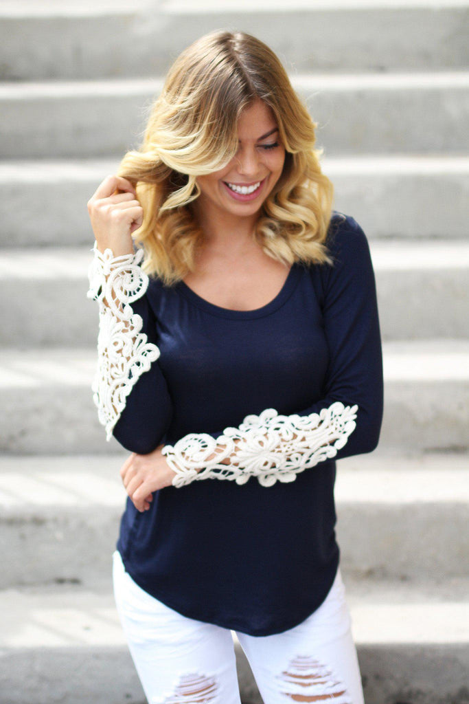 navy stylish top