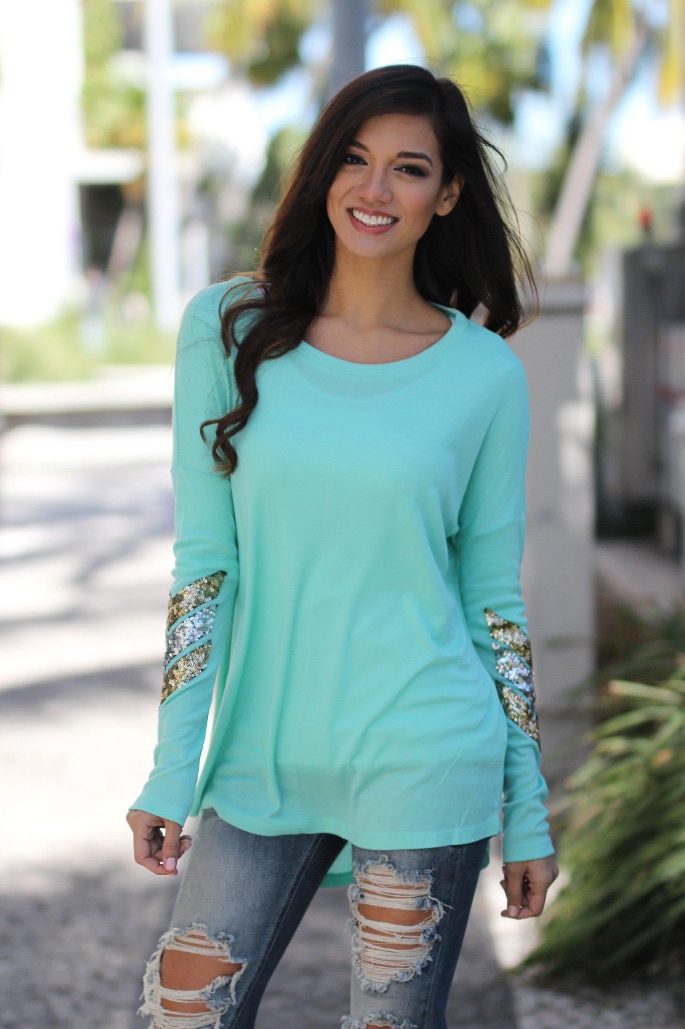 Mint Top With Chevron Sequins