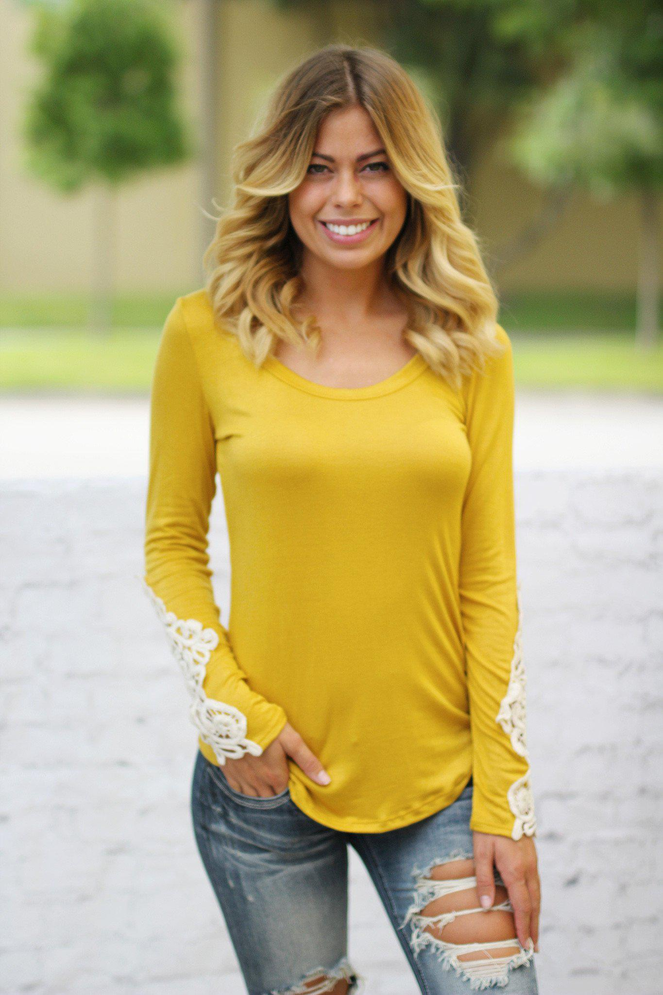 Mustard Top With Crochet Sleeves
