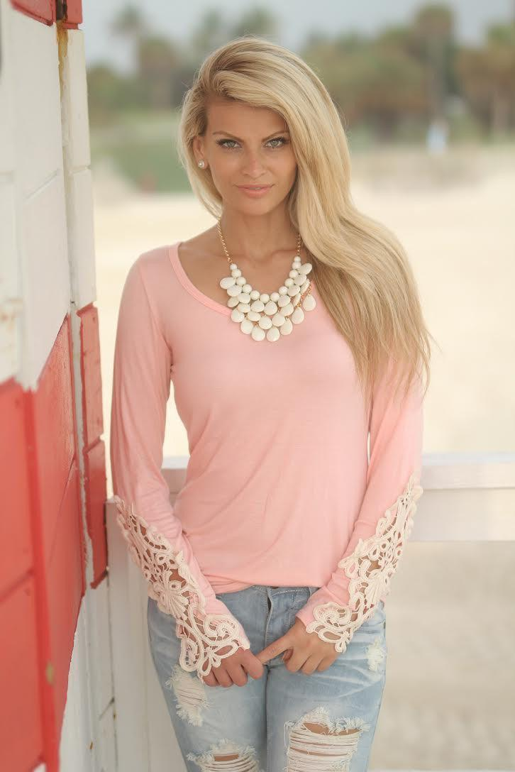 Blush Top With Crochet Sleeves