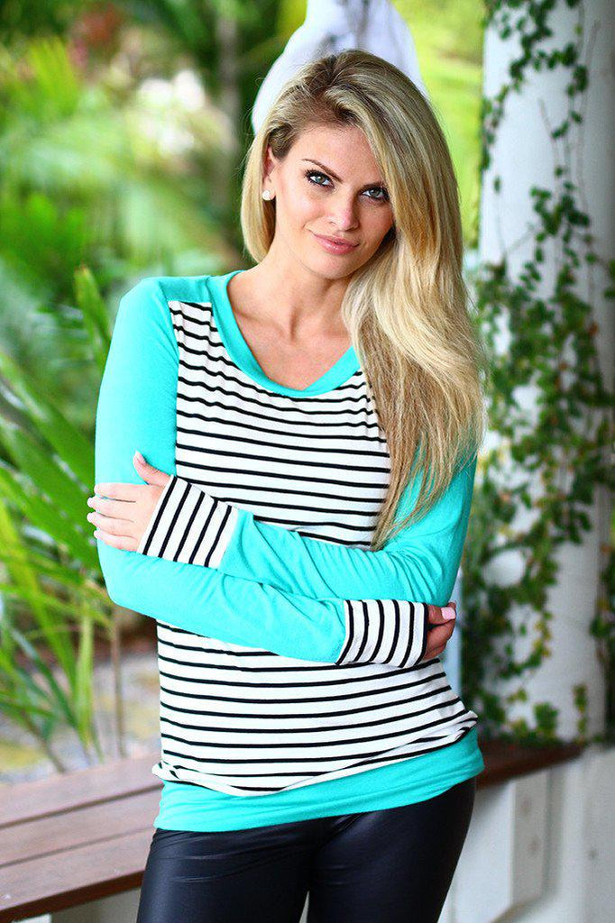 striped mint top