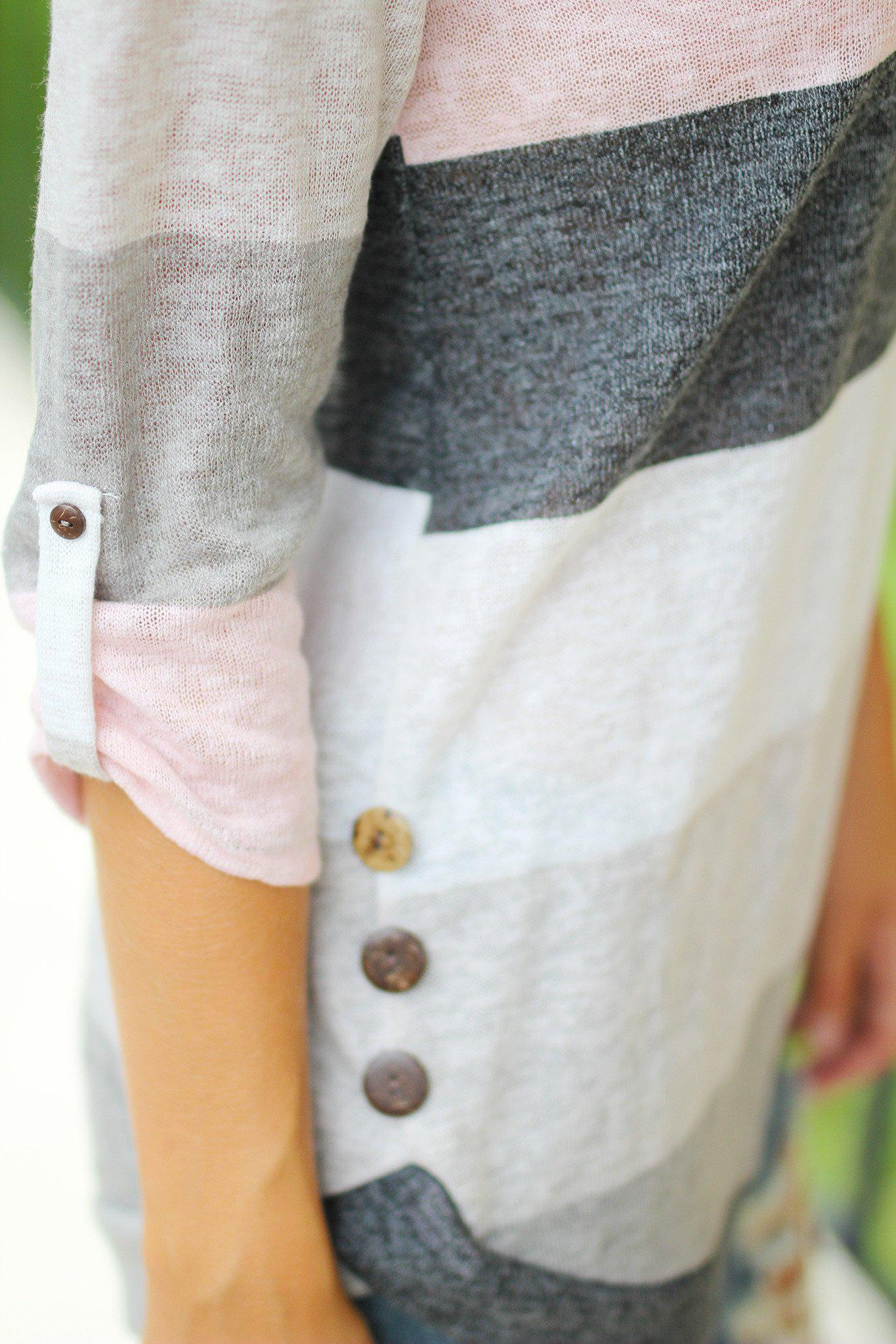 Pink and Charcoal 3/4 Sleeve Top with Buttons