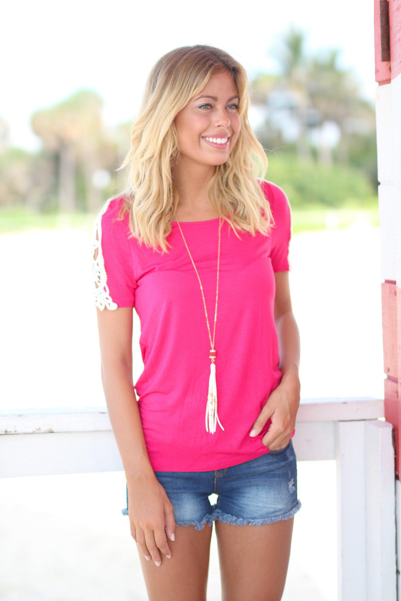 Cherry Short Sleeve Top with Crochet Sleeves