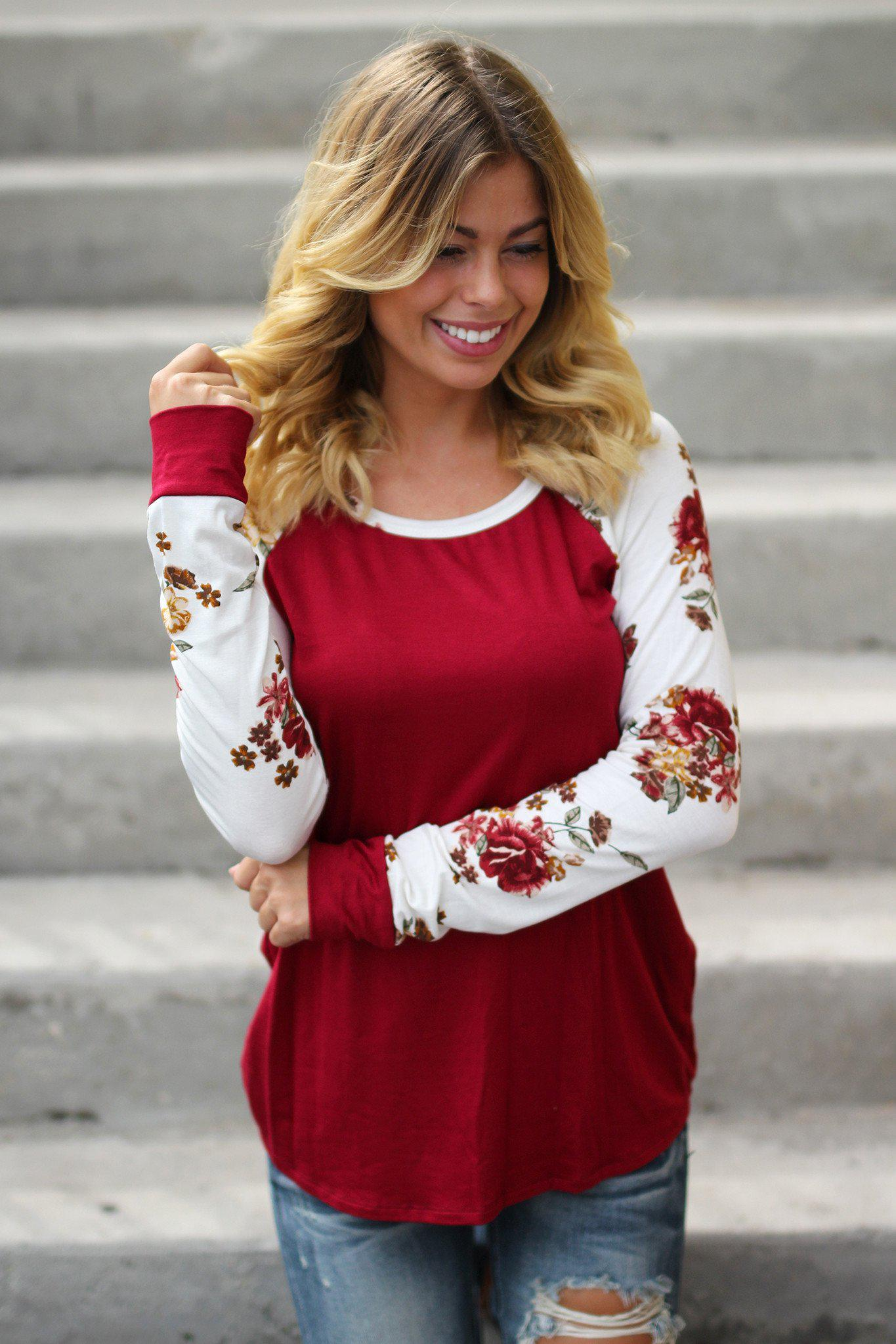 burgundy casual top