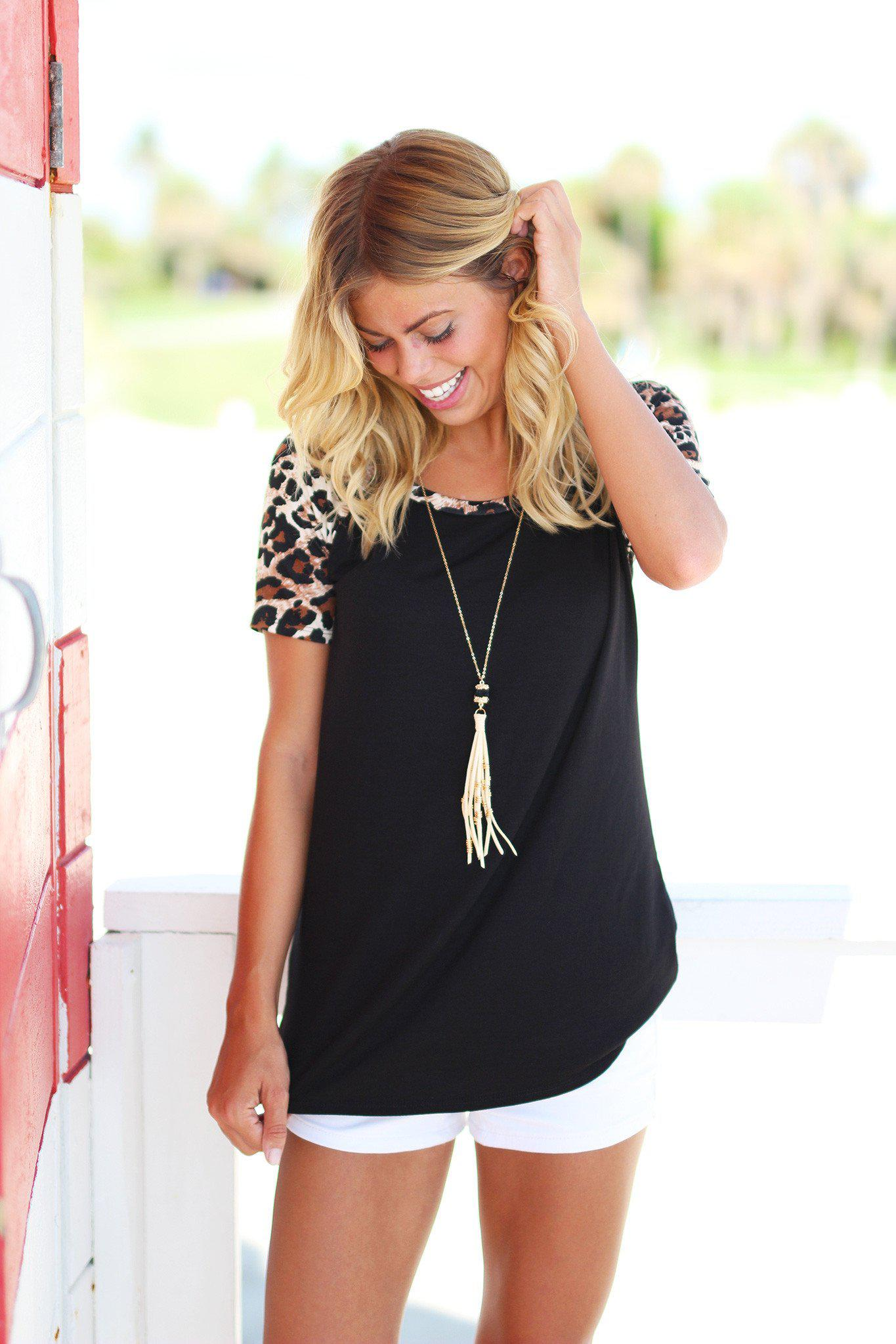 Black Top with Leopard Sleeves