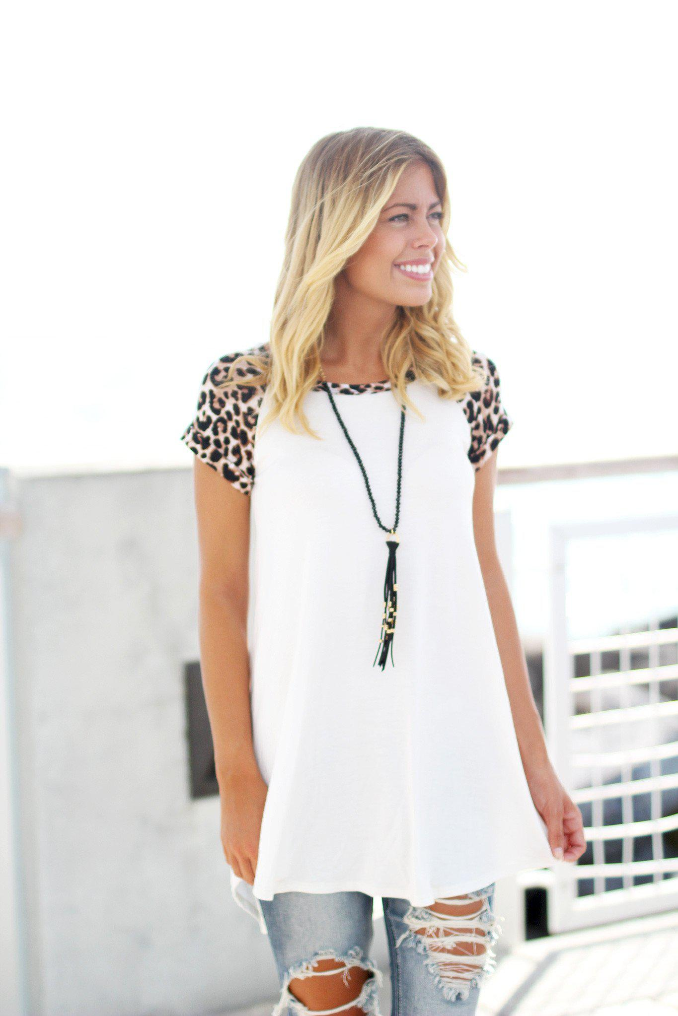 Ivory Tunic Top with Leopard Sleeves