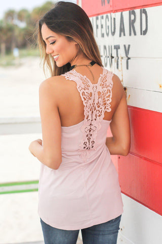 Blush Tank Top with Crochet Back and Pocket