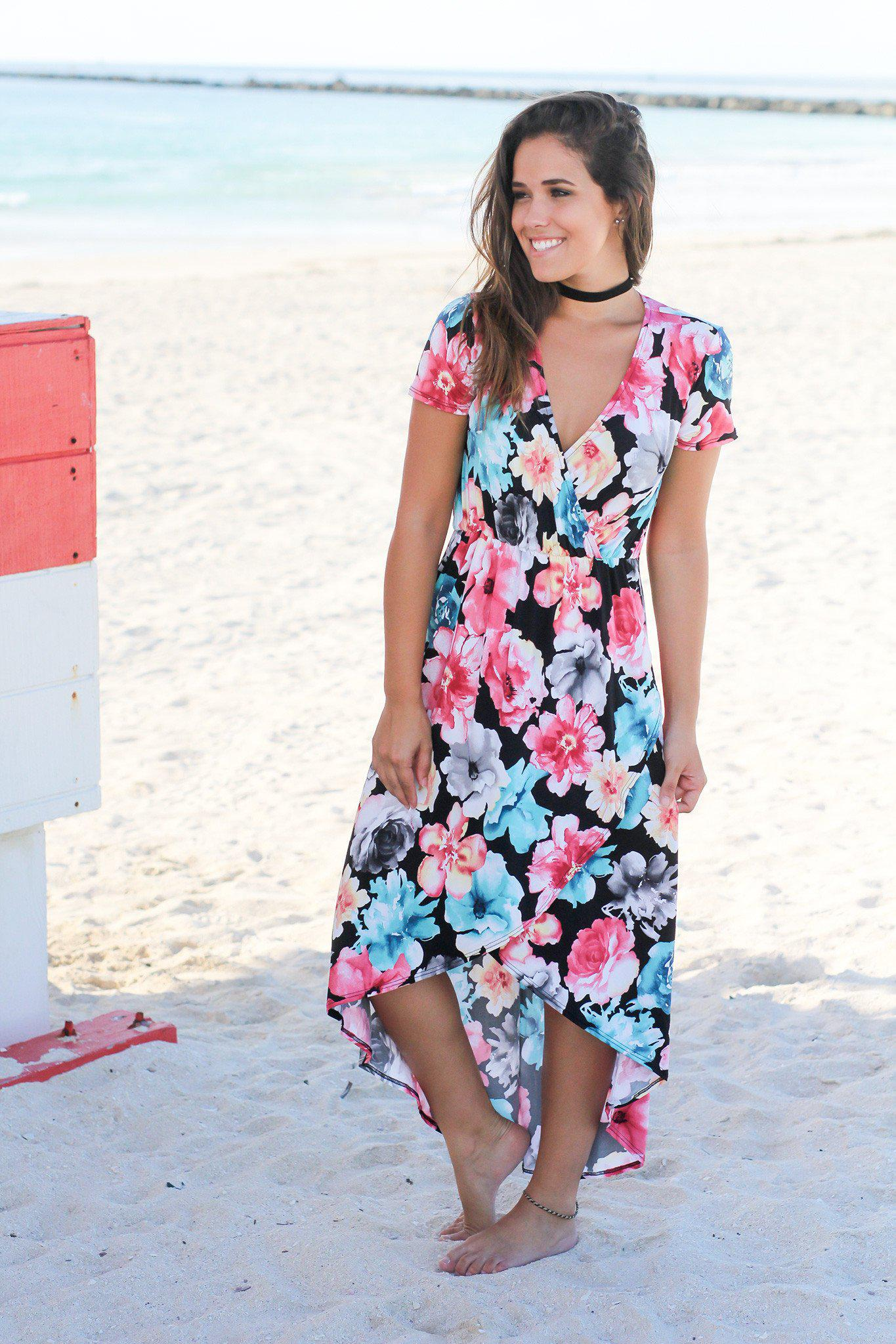 Black Floral High Low Dress with Short Sleeves | Online Boutiques ...