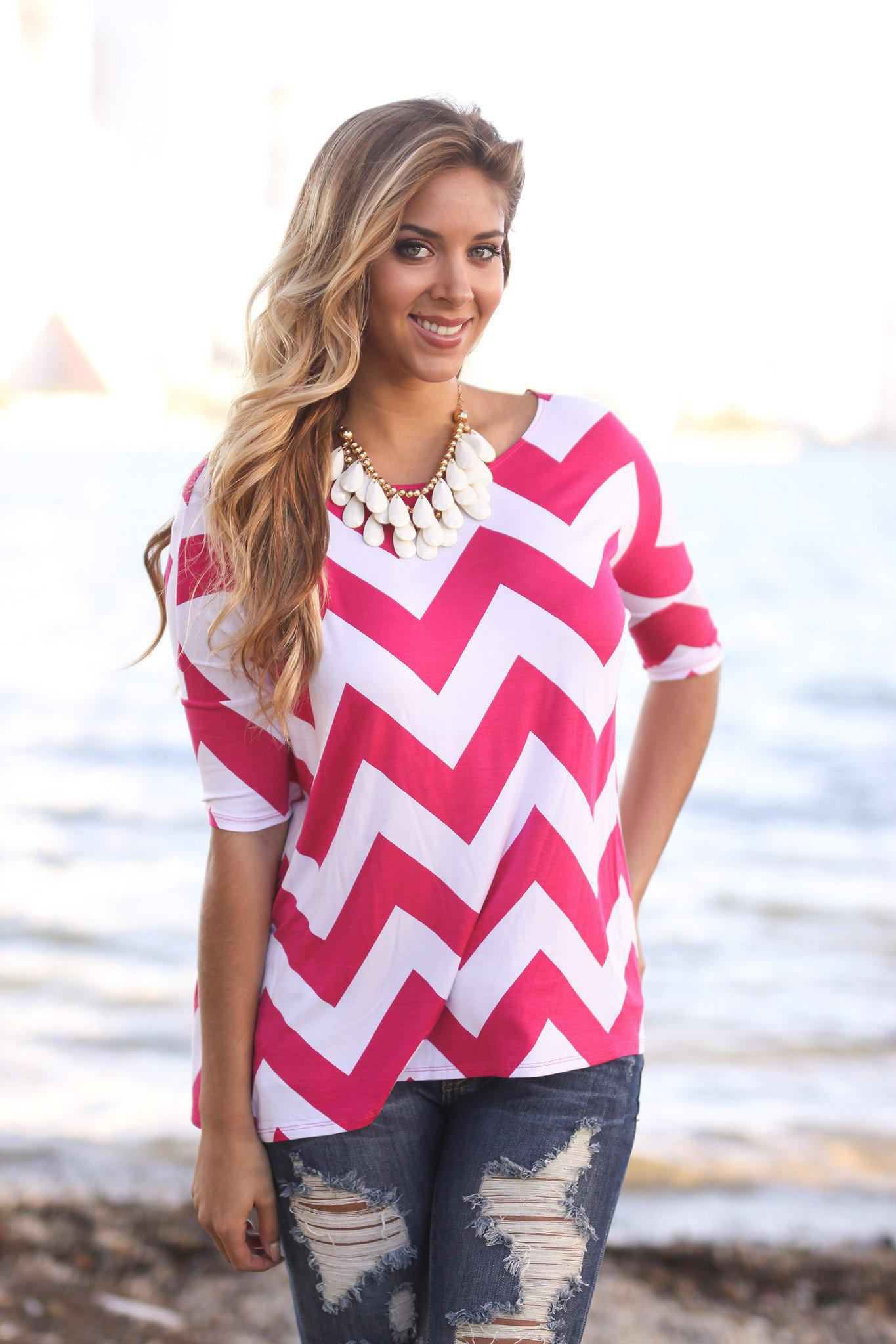 Fuchsia Chevron Top | Fuchsia Top | Online Boutique – Saved by the ...