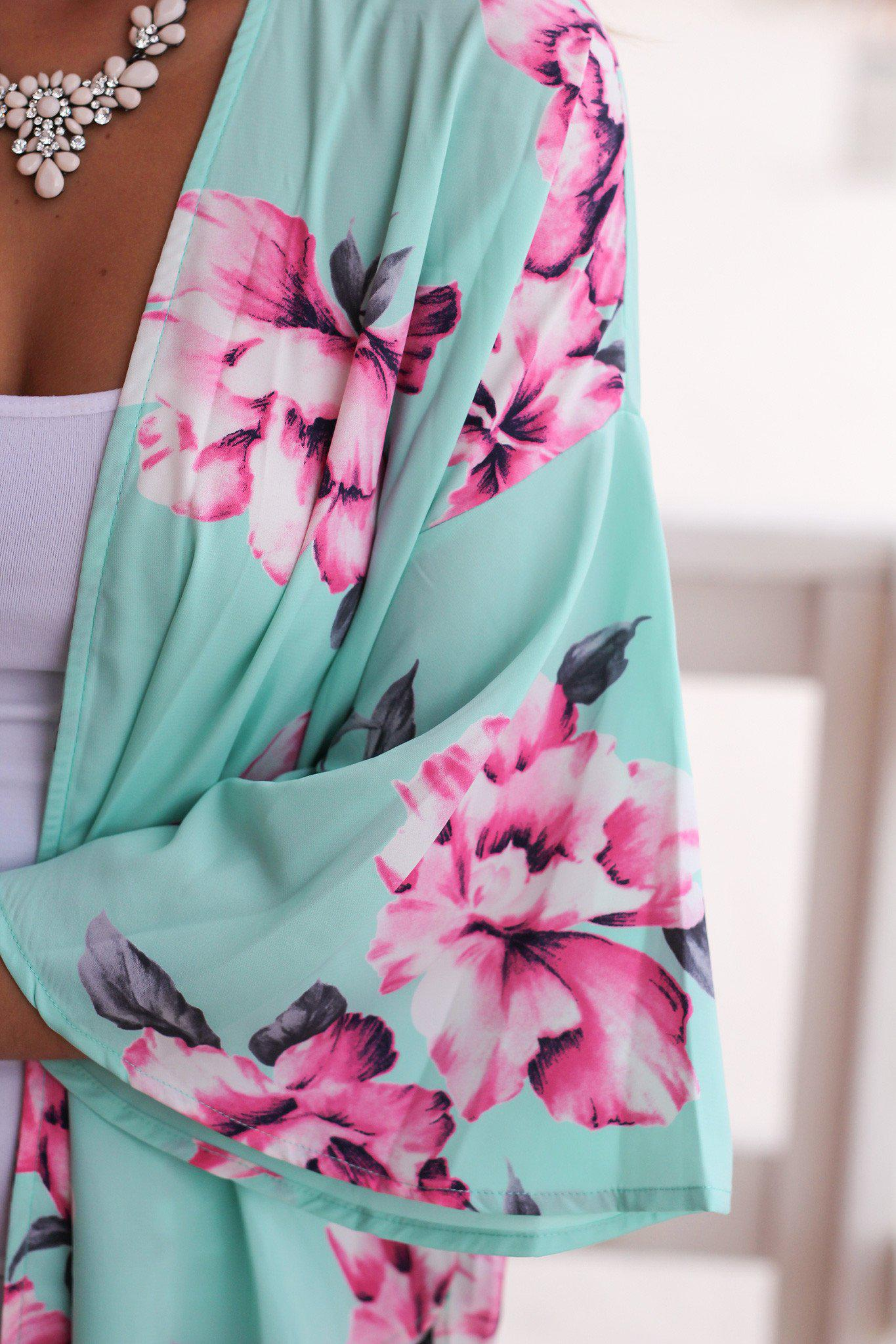 Mint Floral Kimono | Online Boutiques – Saved by the Dress