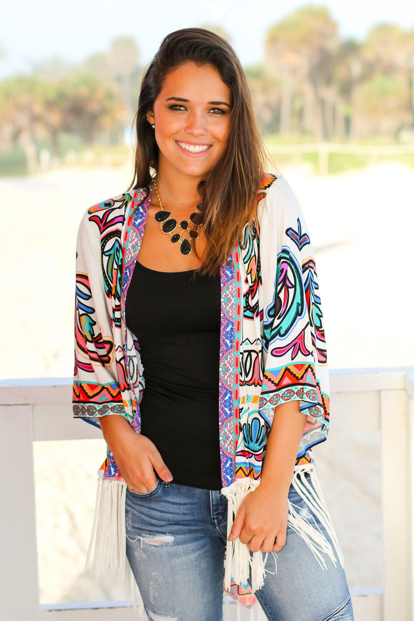 Multi-color Kimono with Fringe | Online Boutiques – Saved by the Dress