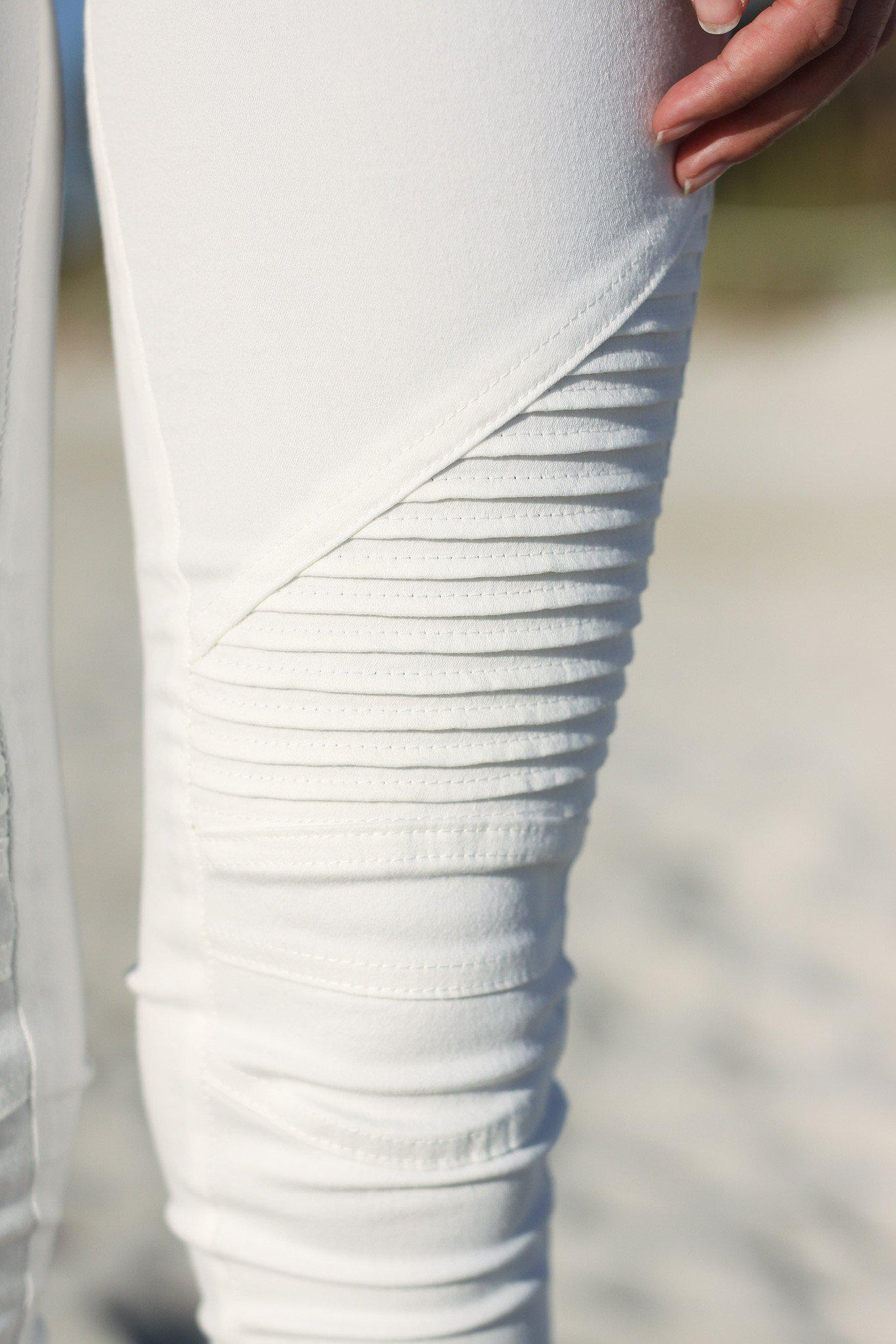 Off White Moto Jeggings with Ankle Zippers | Online Boutiques ...