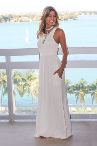 Ivory Maxi Dress with Pockets