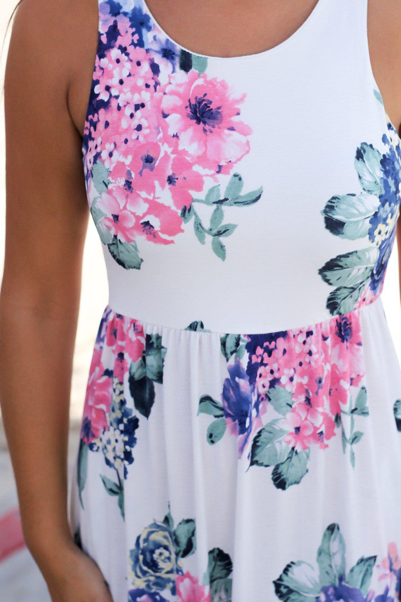 Ivory Sleeveless Maxi Dress with Pink Floral Print | Online ...