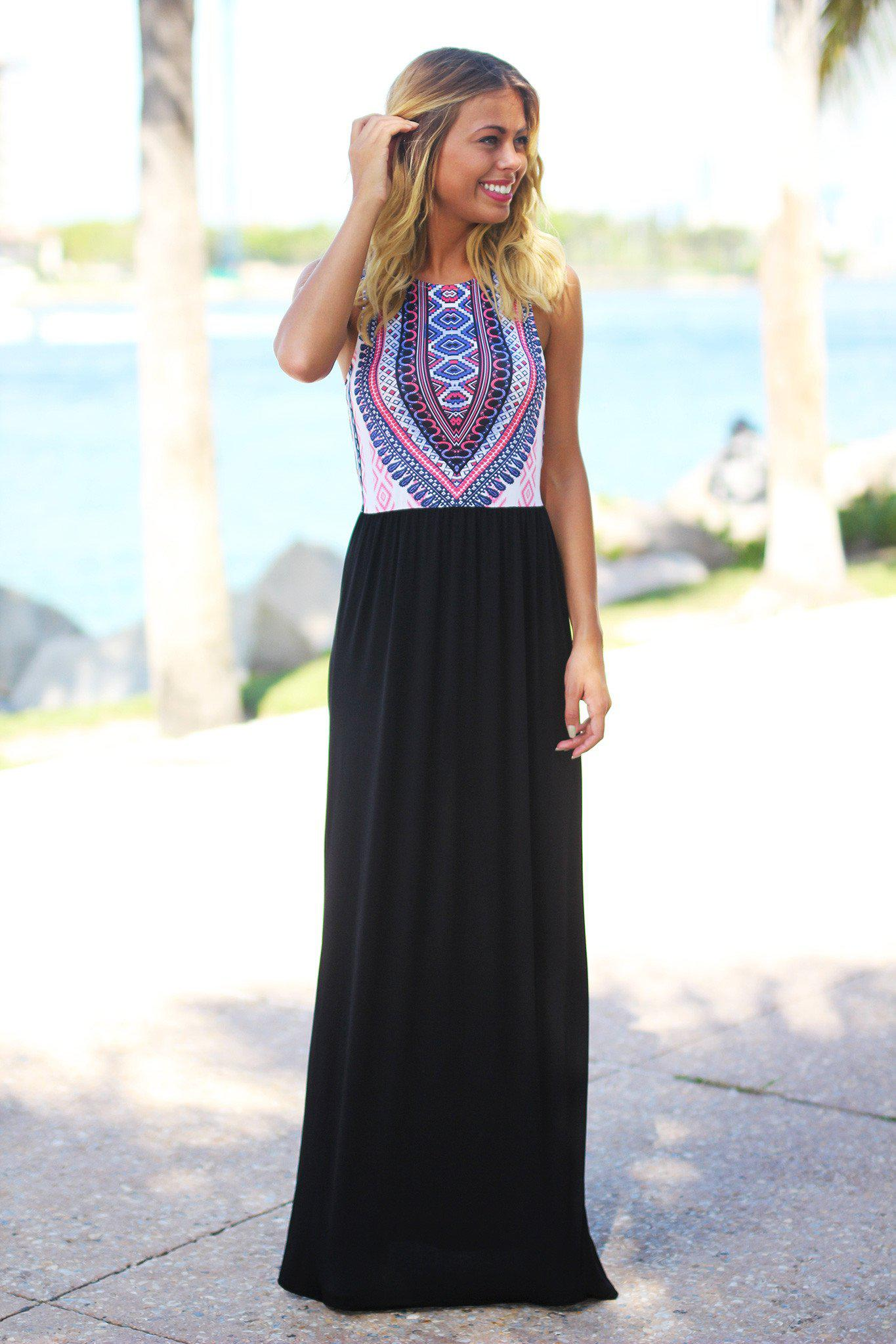 Black Tribal Maxi Dress with Cutout Back | Tribal top maxi dress ...