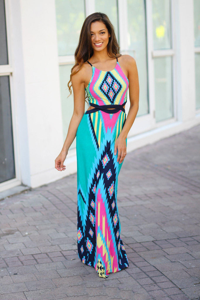jade tribal cut out maxi dress