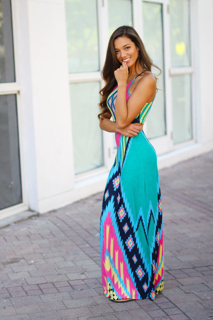 multi color printed long dress