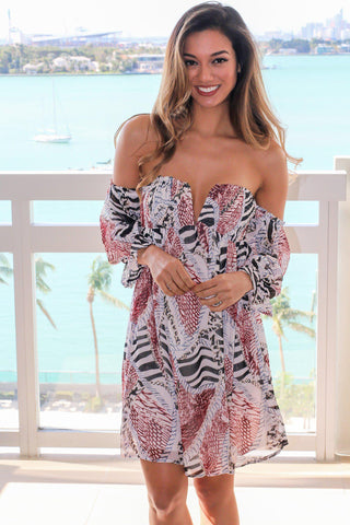 Off Shoulder Tropical Print Short Dress