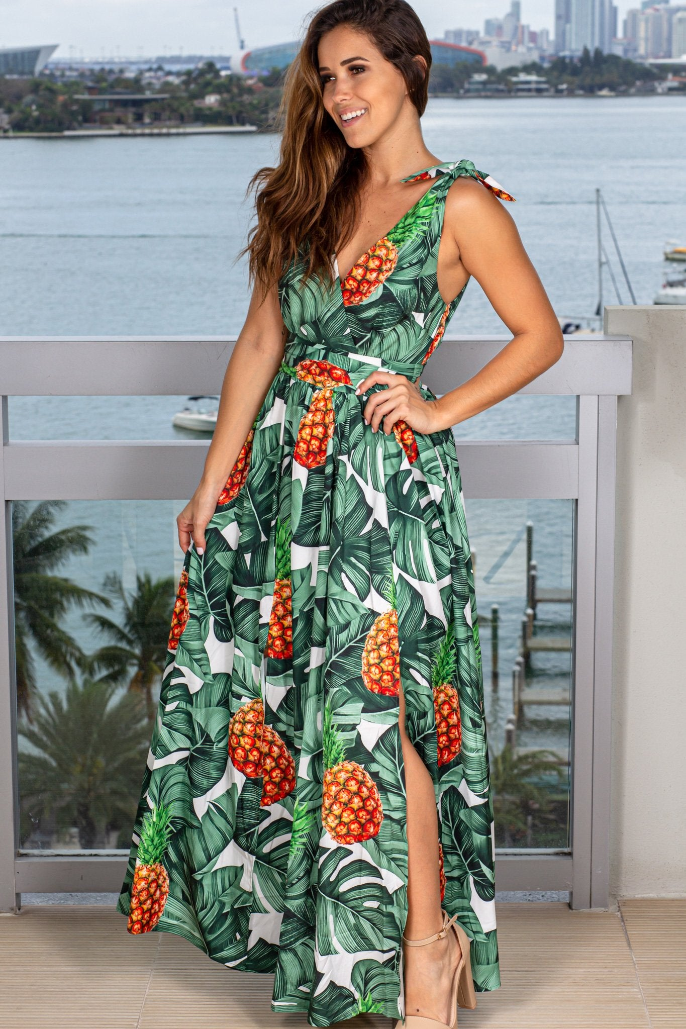 Tropical Printed Maxi Dress with Slits