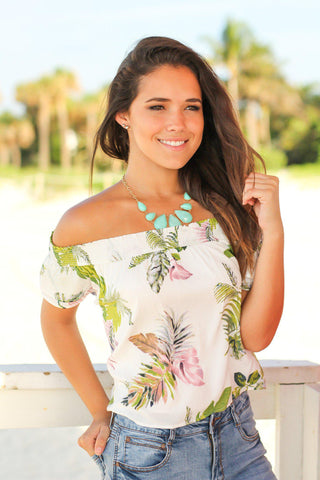 White Tropical Off Shoulder Top