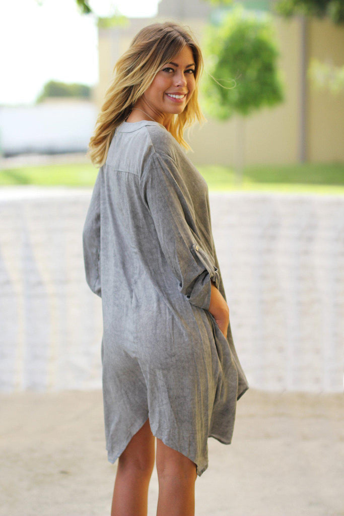 gray casual tunic