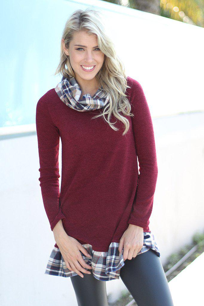 Burgundy Tunic With Plaid Detail