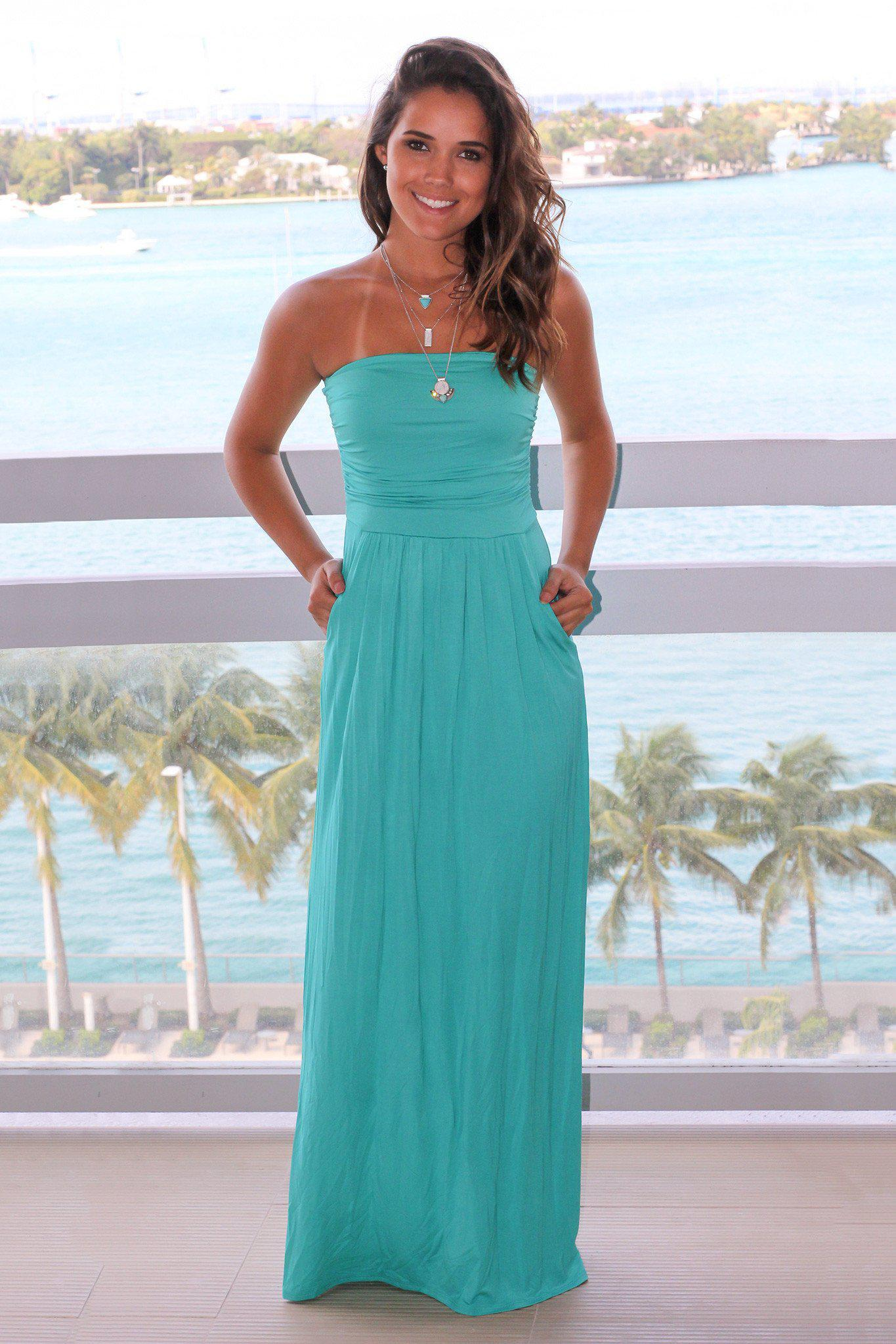 Strapless Turquoise Maxi Dress with Pockets   Maxi Dresses – Saved ...