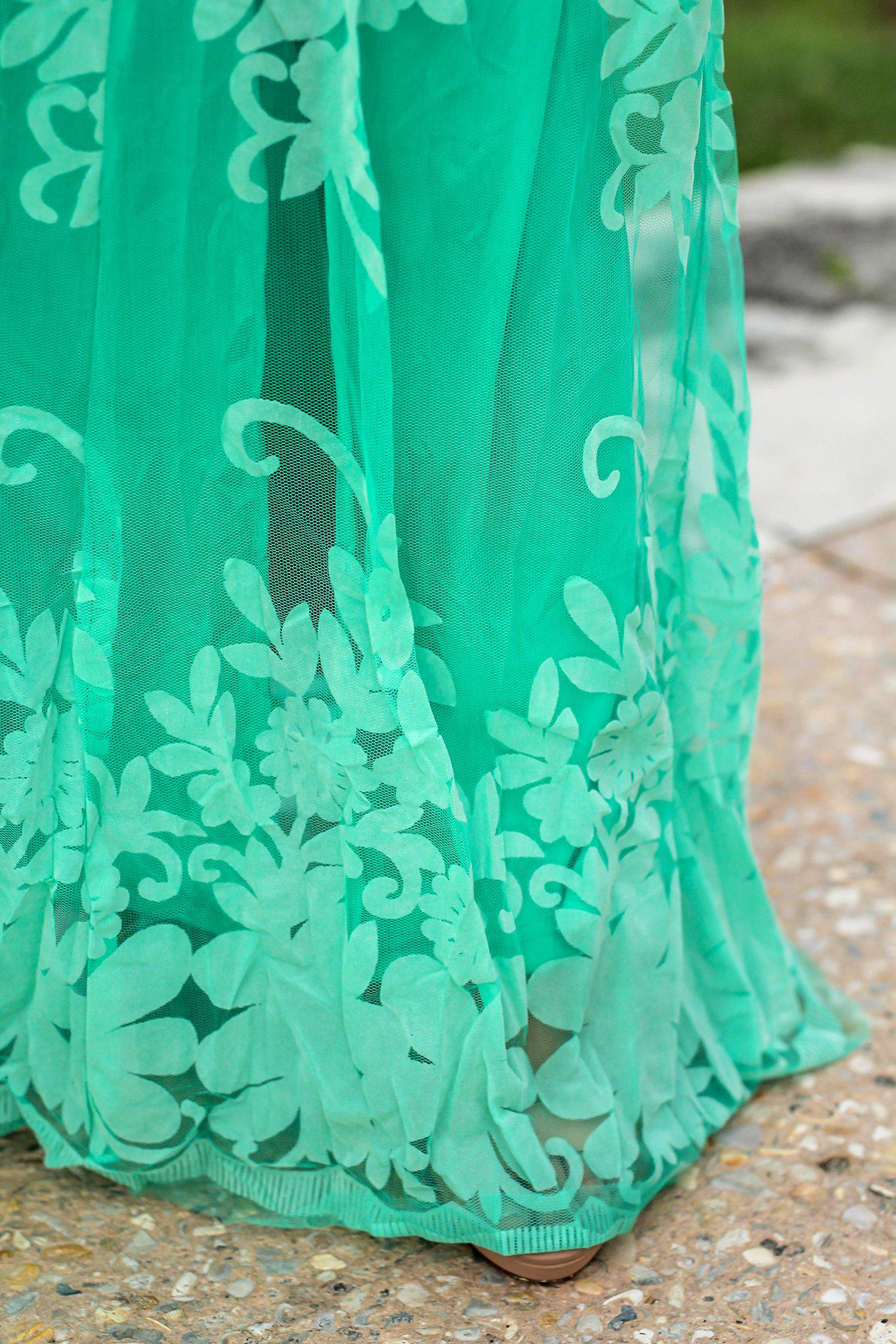Turquoise Floral Tulle Maxi Dress with Criss Cross Back