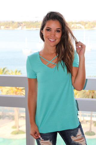 Turquoise Criss Cross Top with Short Sleeves
