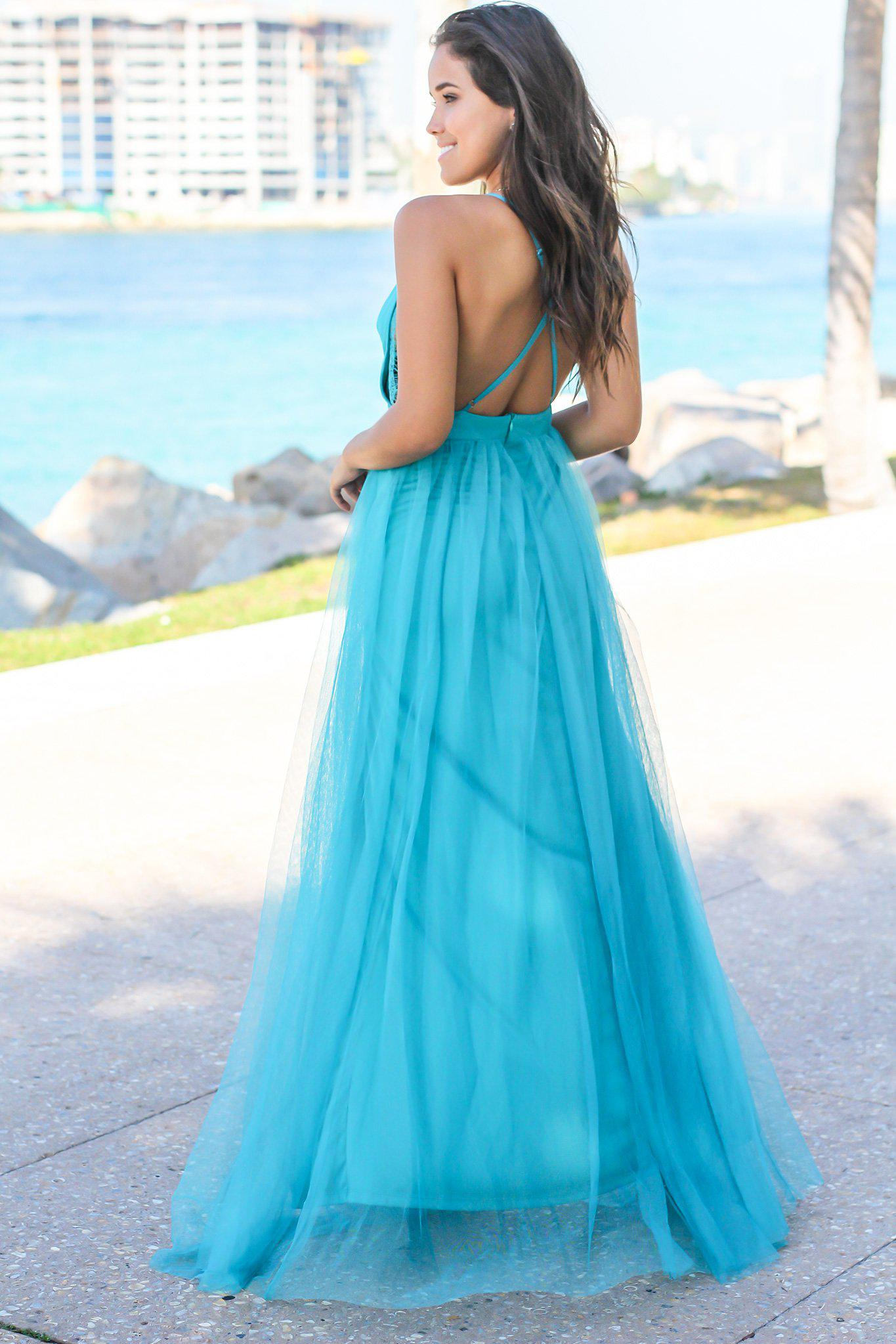 Turquoise Tulle Maxi Dress with Lace Detail