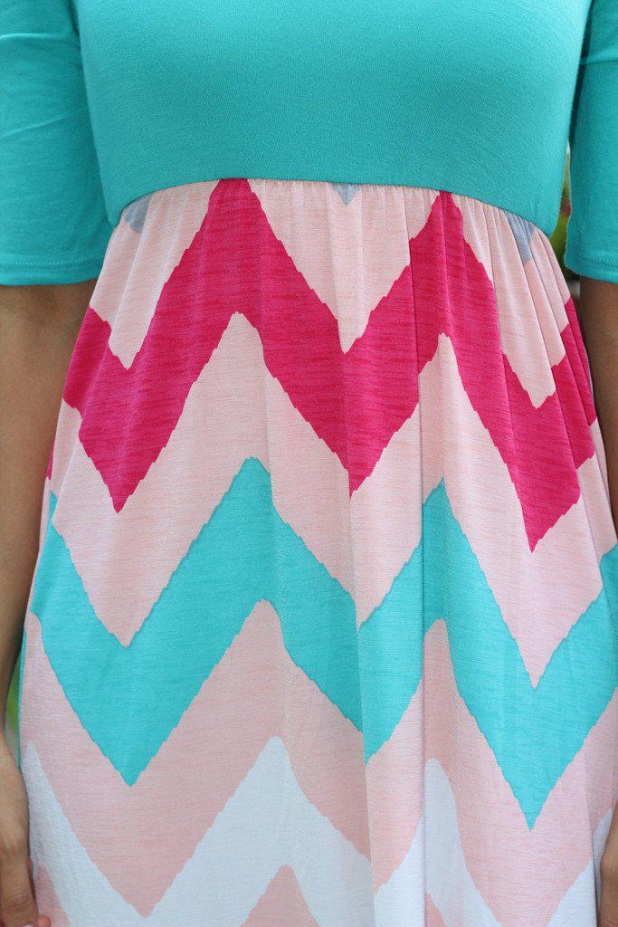 Turquoise and Pink Chevron Maxi Dress