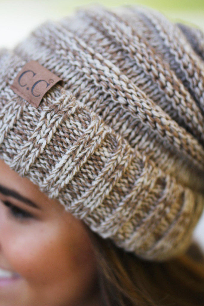 Taupe Two Toned Slouchy Beanie