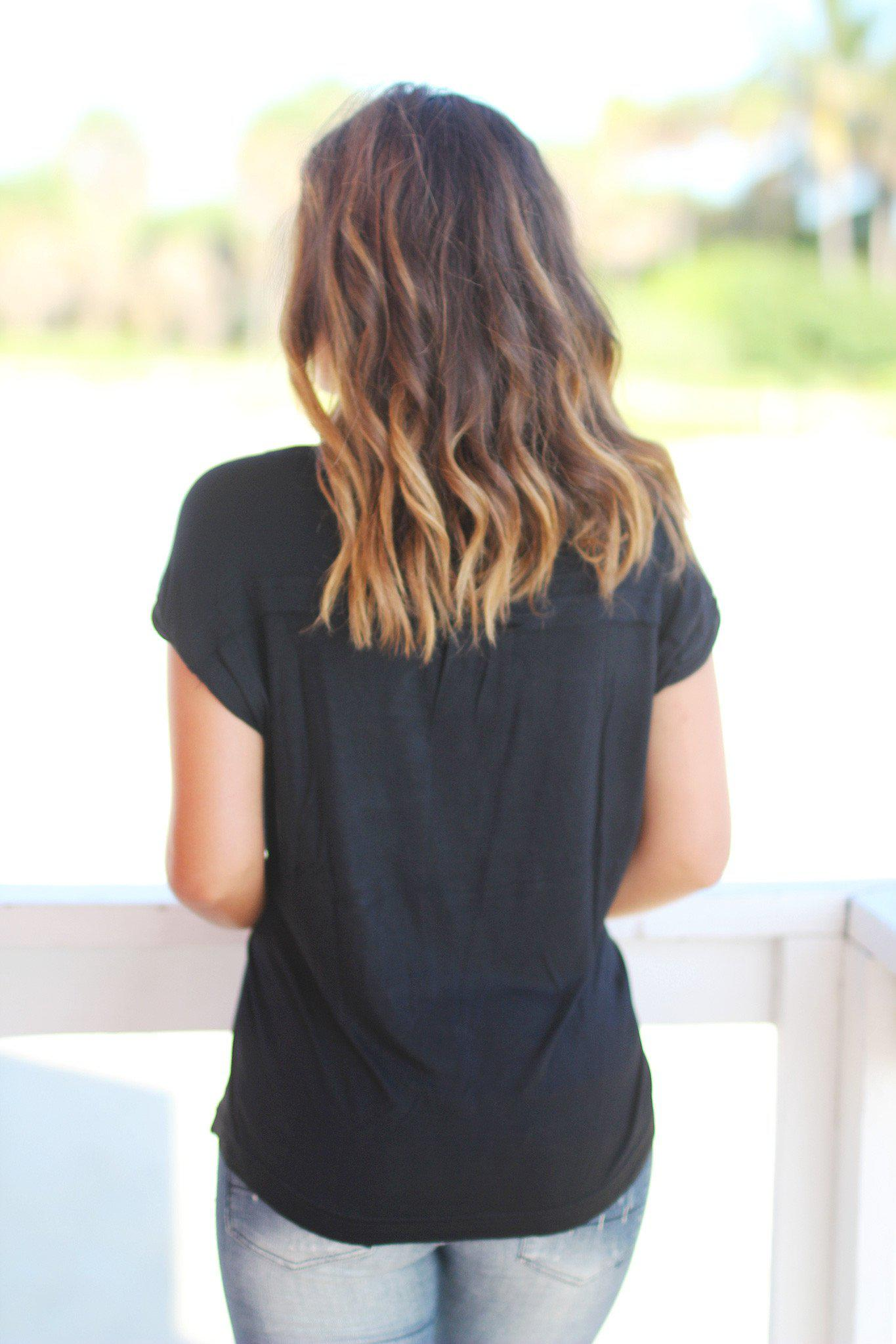Black V-Neck Top with Rolled Sleeves