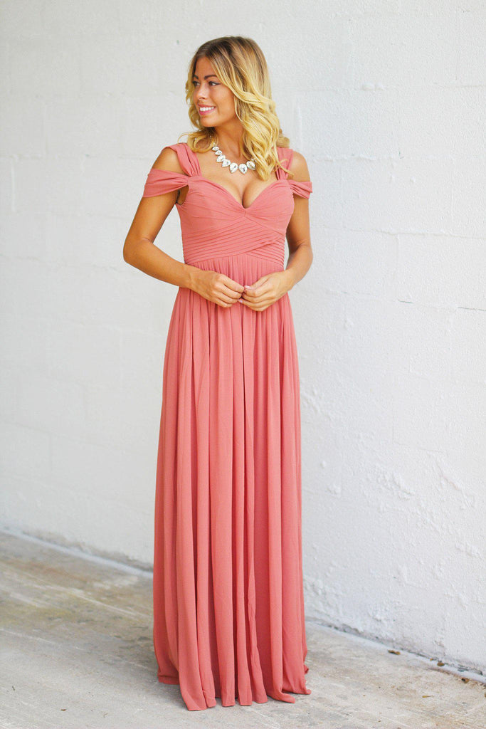 Vintage Rose Off Shoulder Maxi Dress