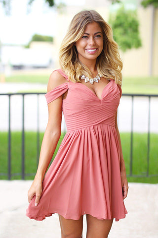 Vintage Rose Off Shoulder Short Dress