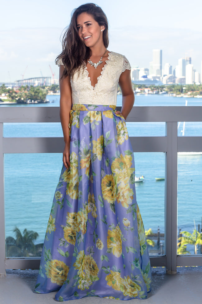 Violet Floral Maxi Dress with Pockets