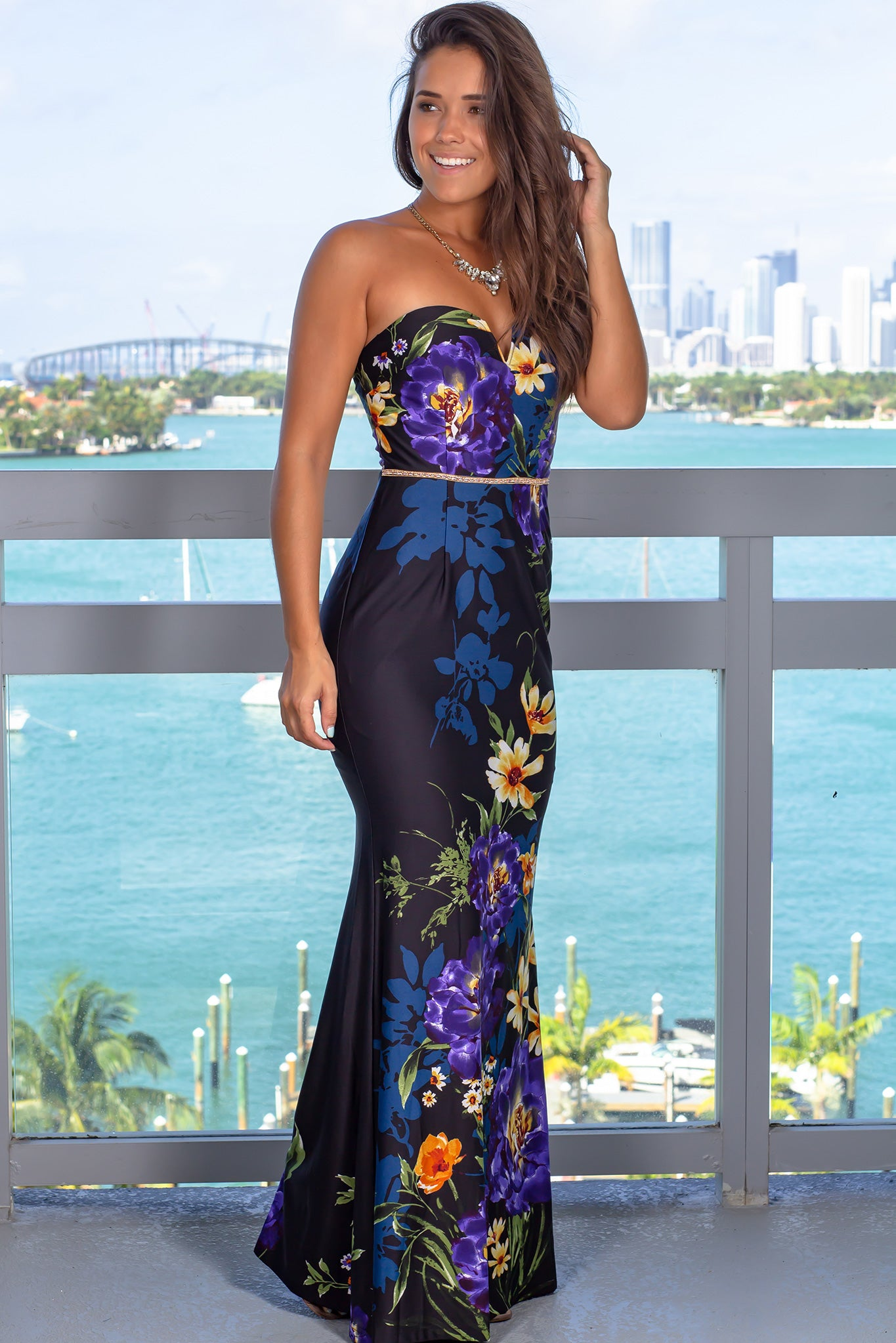 Violet Strapless Maxi Dress with Jeweled Belt