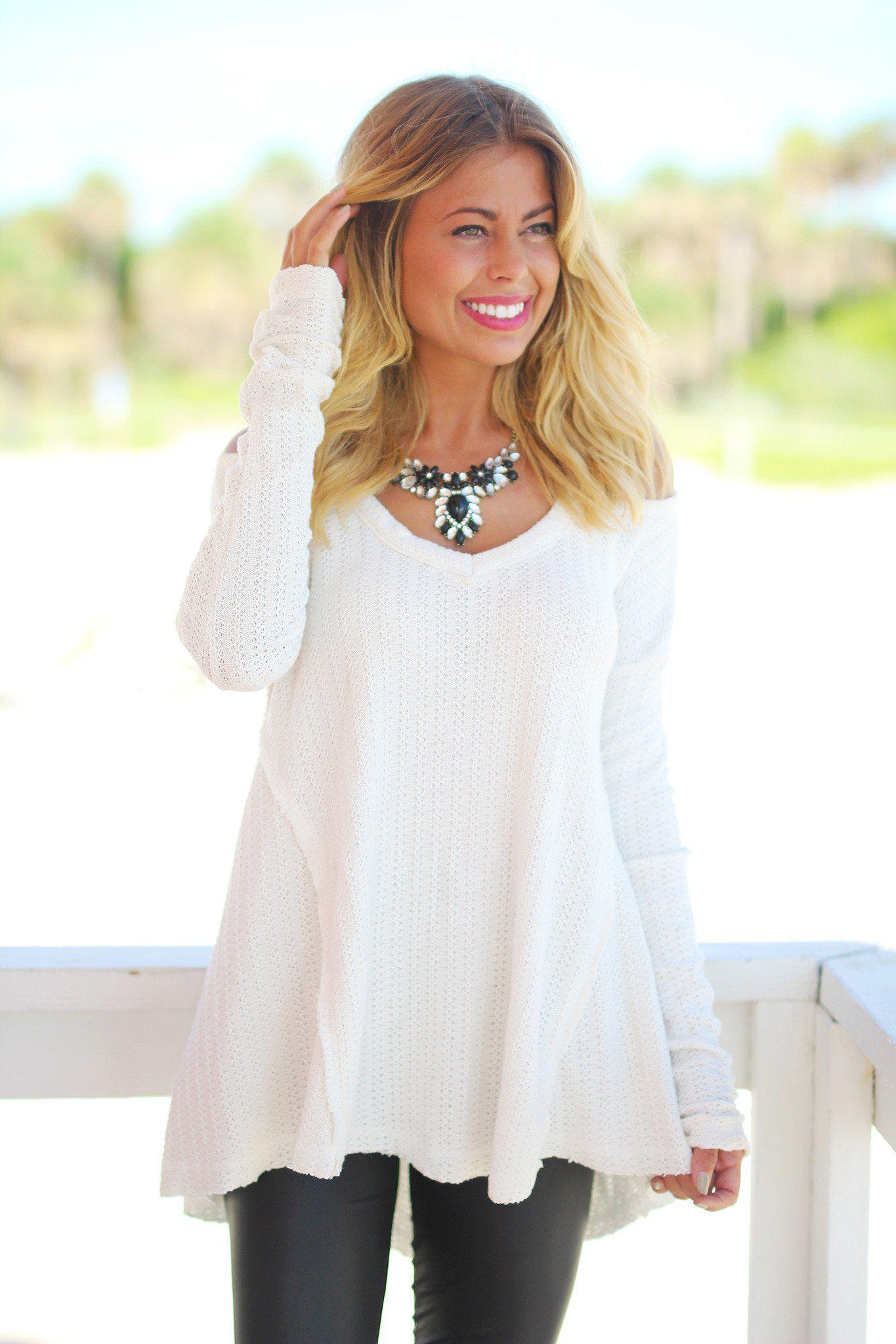 v-neck ivory sweater
