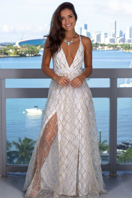 White Maxi Dress with Gold Glitter