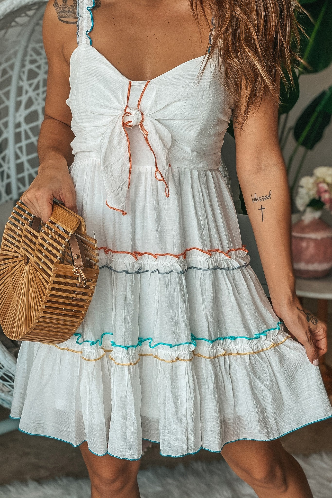 White Short Dress with Tied Top