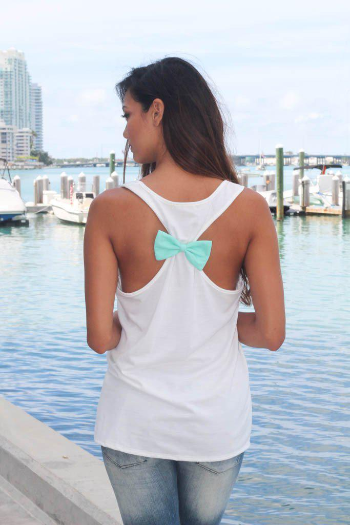 white top with mint bow